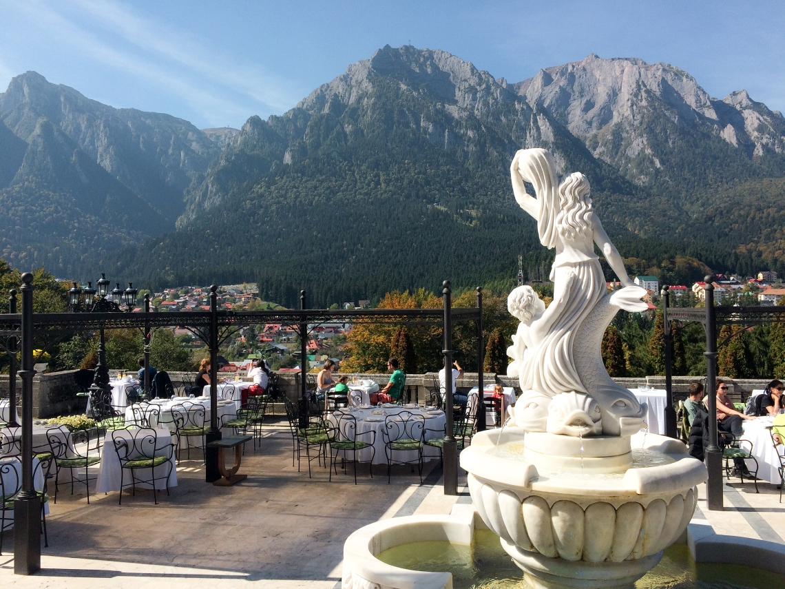 Cantacuzino Gardens with a view over Bucegi Mountains, Romania