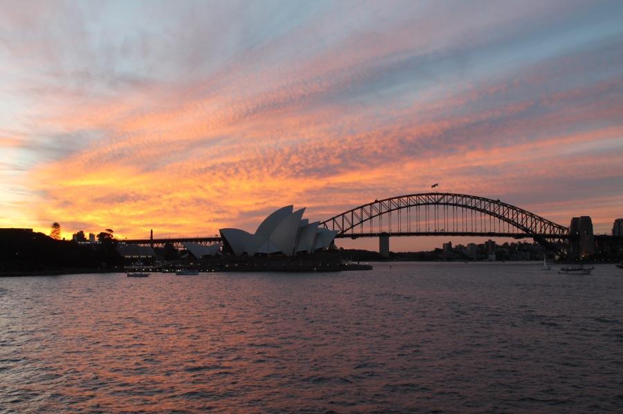 Sunset at Opera House and Harbour Bridge, Sydney Australia
