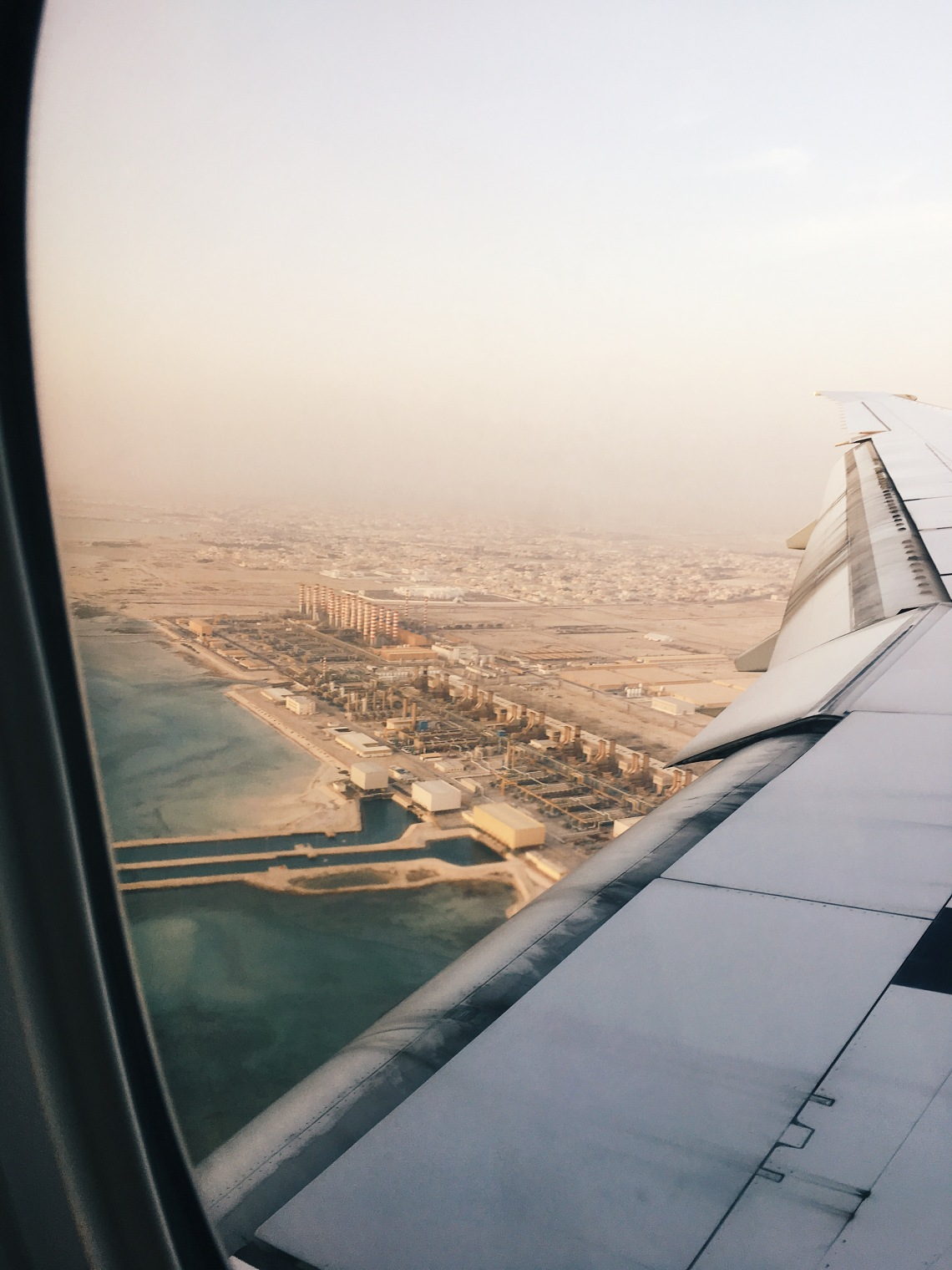 Flying over Doha with Qatar Airways