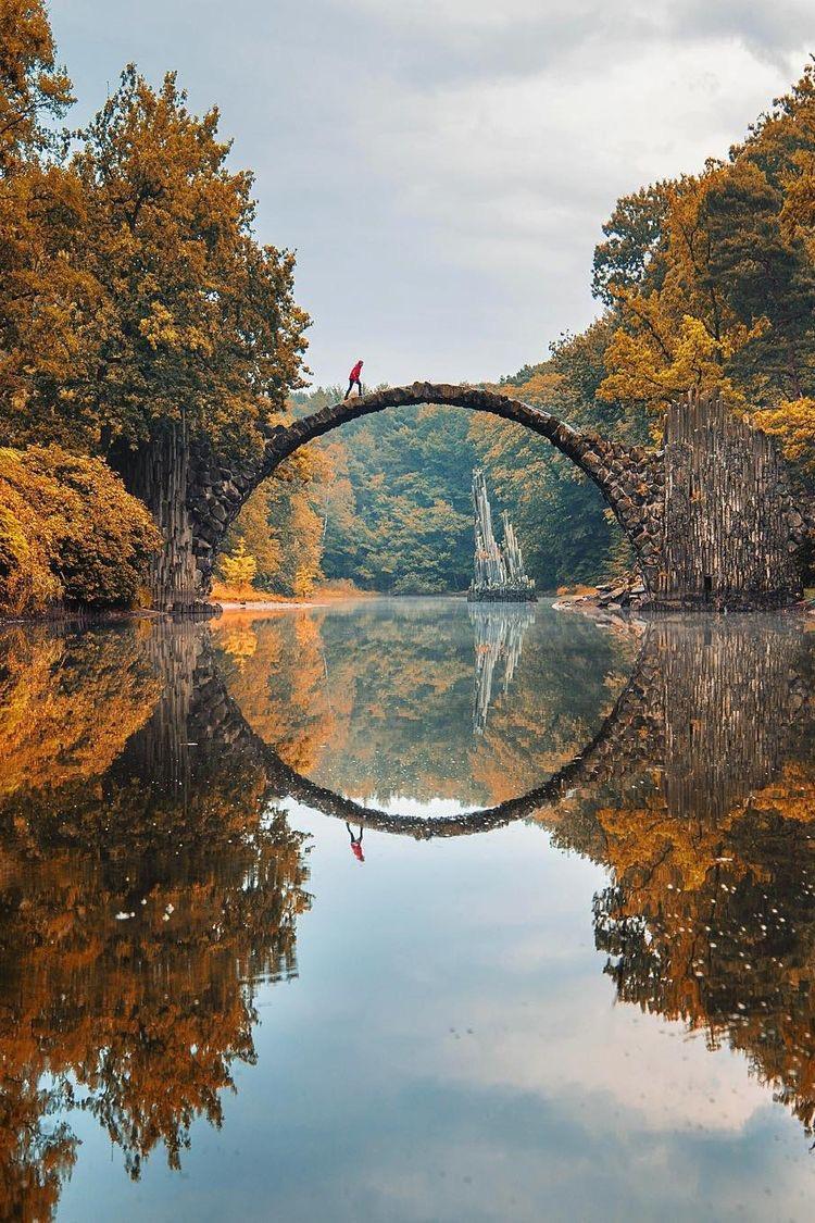 Rakotzbrücke Devil's Bridge in Gablenz, Germany