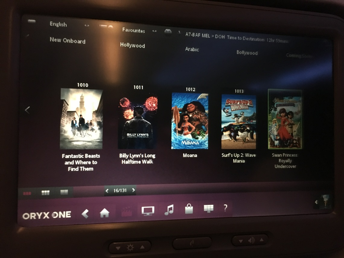 Entertainment System Oryx One - Qatar Airways Economy Class