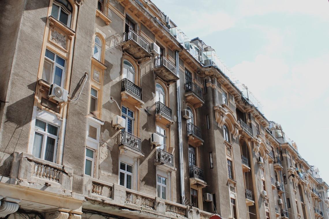 Old building on Victoriei Street, Bucharest Romania